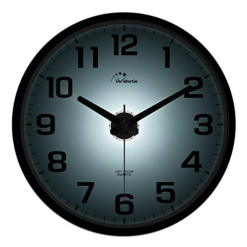WallarGe Night Light Wall Clock for Bedroom - Battery Operated,12 Inch Silent Wall Clocks for Living...