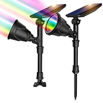 ROSHWEY Solar Spot Lights Outdoor 7 Colors Solar Outdoor Lights Waterproof Landscape Lights 600LM Solar Spotlight for House Backyard Pool Pathway Patio Halloween Christmas Decoration- 2 Pack