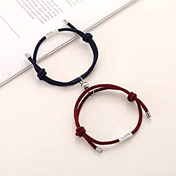 Pinxuan Gift Fashion Solemn Pledge of Love Men Love Letter Attract Adjustable Rope Weaving Magnet Bangles Couple Bracelets Waistbands Blue&Wine red