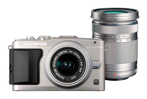Olympus E-PL5 PEN Kamera Set Silver (inkl. Objektiv Olympus 14-42mm f/3.5 II R + Objektiv Olympus 40-150mm R)
