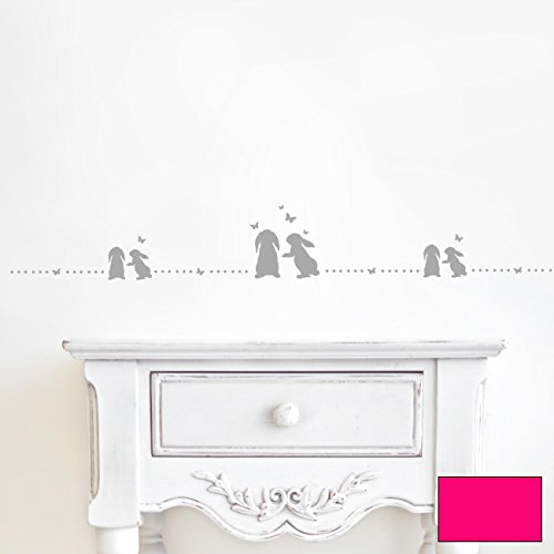 ilka parey wandtattoo-welt Sticker Mural Lapin Lapin à Pois Frise m1863, Rose Bonbon, L - 100cm breit x 13cm Hoch