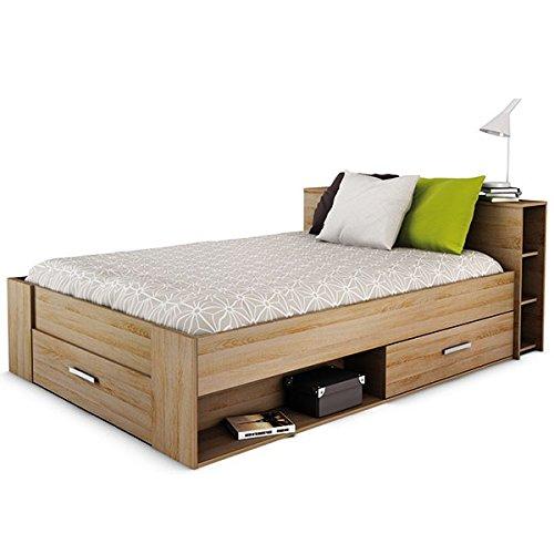 Funktionsbett Abby 140 * 200 cm Grau Sonoma Eiche inkl. 3 Bettschubkästen + Regal (Koptteil) Kinderbett Jugendbett Jugendliege Bettliege Bett