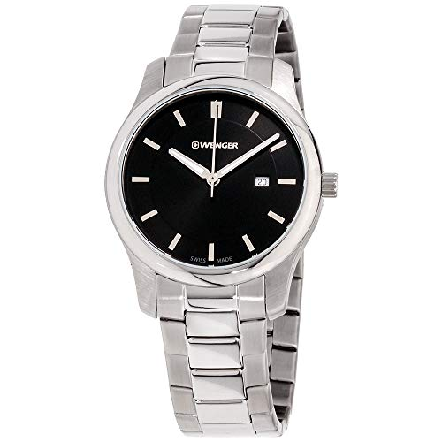 Wenger Men's City Classic Swiss-Quartz Watch with Stainless-Steel Strap, Silver, 17 (Model: 01.1421.104)