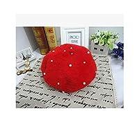 限定セールソリッド大人女性Boinasヒップスタージョーカーパール毛皮ベレー多色画家帽子、赤、56〜58センチメートル