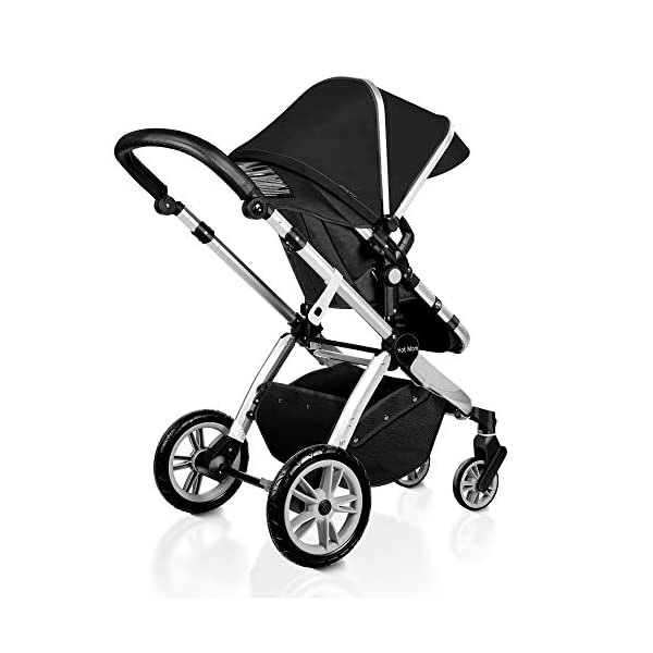 Pushchair 2 in 1,Upgrade Baby Stroller with Independent Seat and Bassinet Combo Pram,Foot muff and Cup Holder 7 Gifts,(Black) HOT MOM INTIMATE SERVICE: FBA prime service,free shipping, 2-year warranty period, accessories parts can be replaced and repaired,180 days unsatisfied full refund.Passed the United States baby stroller Standard Test ASTM F833-15. 7 FREE GIFTS:Stroller seat、bassinet、Rain Cover、mosquito net、Cup holder、Wrist band、car seat adapter.Reversible, you can face your mother, you can also face the outside world. UPGRADED MATERIAL:Say goodbye to Lycra fabric and Oxford fabric,use the upgraded down cotton fabric in the seat,bassinet and canopy design,which is specially designed for the newborn baby's comfort and more skin friendly.Sweet sleep for baby. 7