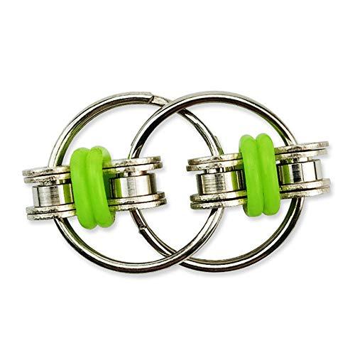 WERR Bike Chain Fidget Toys, Kids Toy Bike Chain Fidget Toys Finger Spinner Stress Relief ADHD Sensory Autism (Vert)