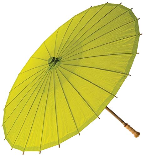 Luna Bazaar Paper Parasol (20-Inch, Chartreuse Green) - Chinese/Japanese Paper Umbrella - For Children, Decorative Use,