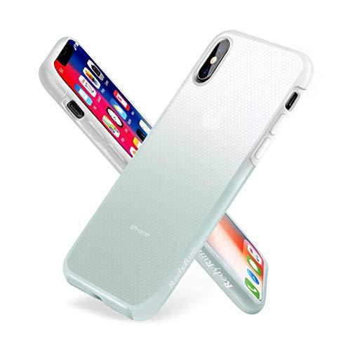 RedyRun Funda Protectora Transparente para iPhone XS MAX en Policarbonato y Silicona Líquida Bi-Material Bumper A Prueba de choques, Ultra Fina, Duradera, Semitransparente, Verde Claro