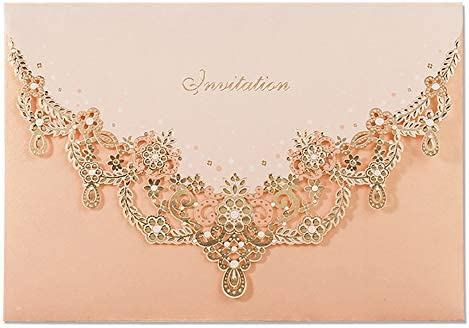 WISHMADE 50X Luxury Pink Wedding Invitations Cards Engagement Hollow Flower Elegant Laser Cut product image
