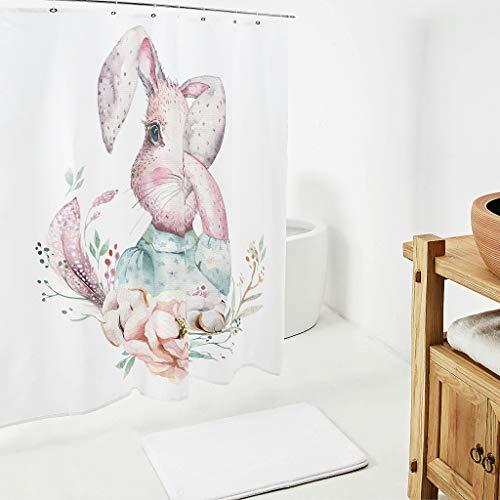 Zhcon Pasen konijn patroon decoratieve douchegordijnen met gratis haken niet giftig verwijderbare liner badkamer gordijn bad gordijn