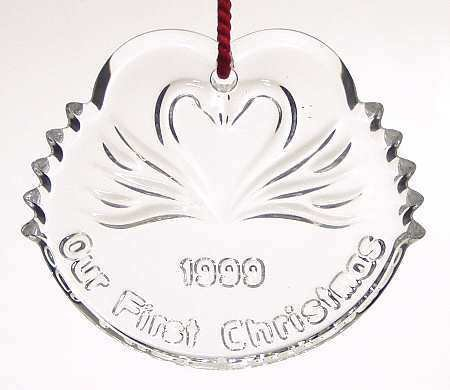 Waterford Crystal Hanging Ornament, The Wedding Collection - Our First Christmas, 1999