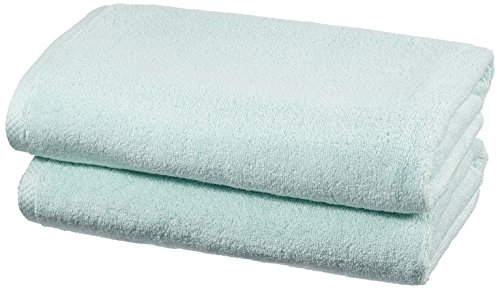 Amazon Basics - Set di asciugamani ad asciugatura rapida, 2 pezzi, 2 teli bagno - Blu Ghiaccio