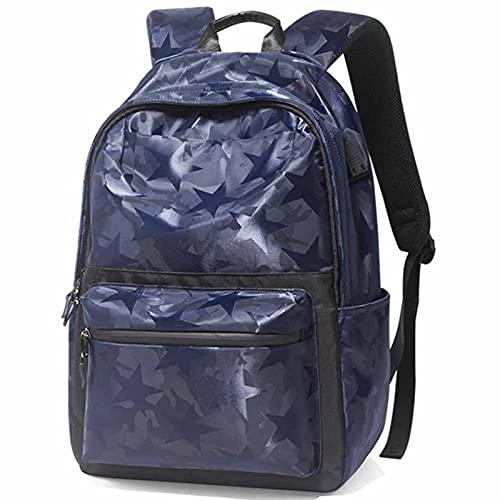 ANMJJ Men Bolsa de Viaje,Estudiante Bolsas Escolares,Mujer Sports Mochila,External USB Cargar,Impermeable Nylon,20-35L,Azul