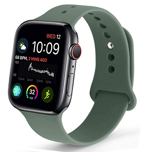 NUKELOLO Sport Band Compatible with Apple Watch 42MM 44MM,Soft Silicone Replacement Strap Compatible for Apple Watch Series 4/3/2/1 [M/L Size in Pine Green Color]