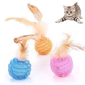 Mostop Lot de 3 balles pour chat avec clochette et plumes