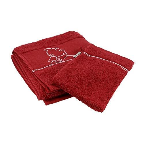 Moulinsart Toalla y Guante de baño Tintín 100% Algodón - Rojo (100x50cm)