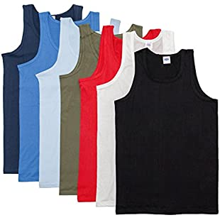 mens vests sleeveless fitted 100% cotton white black or mixed colours 3 pack singlets (LARGE, MIX COLOURS):Marocannonce