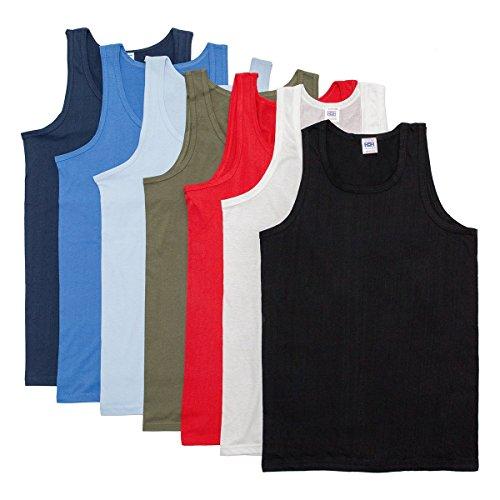 Xclusive Trading mens chalecos sin mangas equipado 100% de algodón blanco negro o colores mixtos 3 singletes Paquete (XXL, mezclar colores)