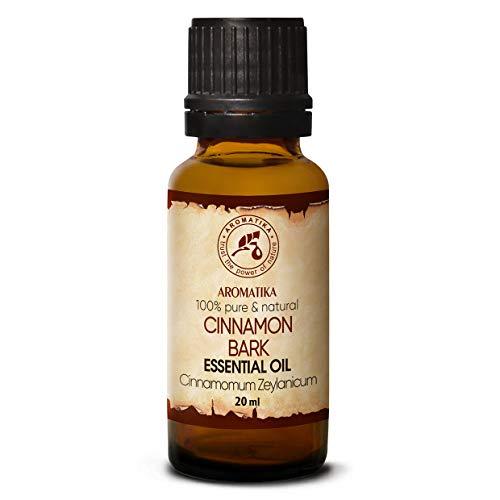 Huile Essentielle d'écorce de Cannelle 20 ml - Cinnamomum Zeylanicum - Aromathérapie - Parfum d'ambiance - Huile de Cannelle 100% Pure Pour - Soins de la Peau et des Cheveux - Diffuseurs - Détente