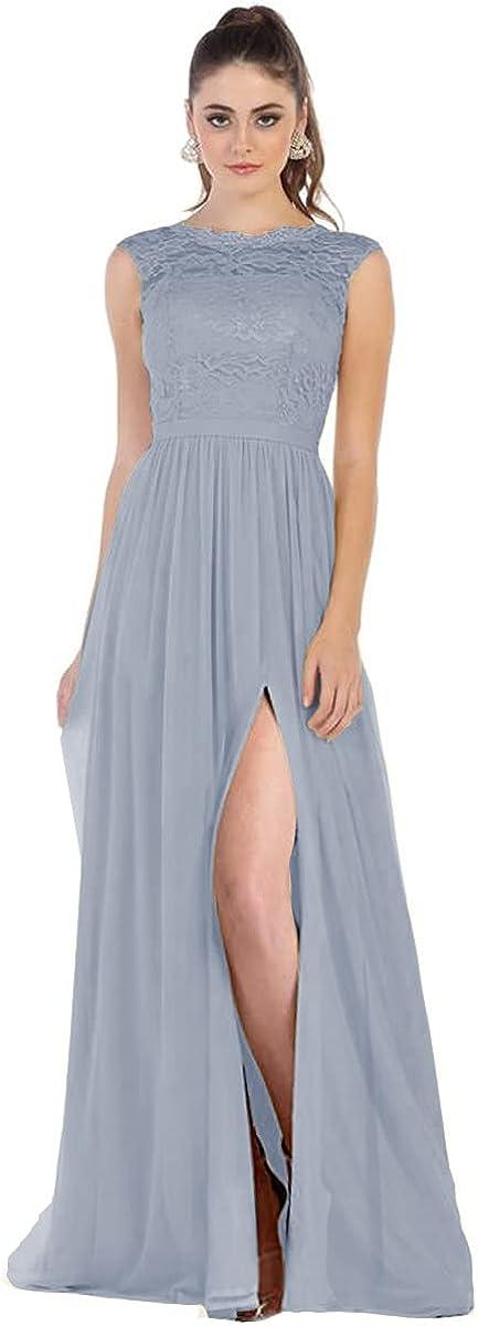 Women Lace Chiffon Bridesmaid Dresses with Slit Pocket V Back Long Formal Evening Dress B023