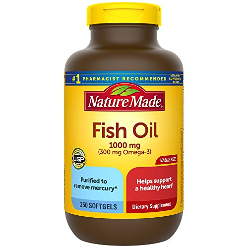 Nature Made Fish Oil 1000 mg Softgels, 250 Count Value Size for Heart Health† (Packaging May Vary)
