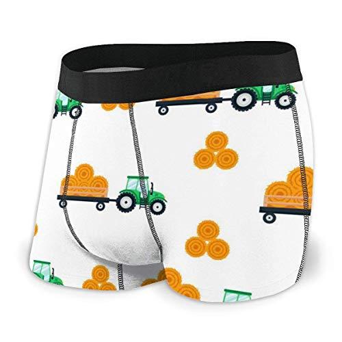 GLGFashion Grüner Traktor mit einem Wagen Hay Mens Ride-Up Unterhosen Boxer Briefs Unterwäsche Unterhosen