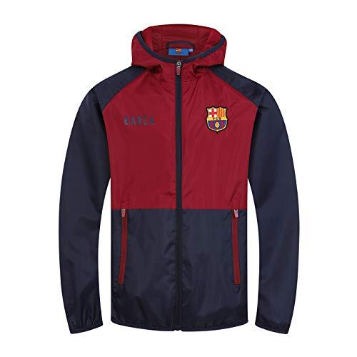 FCB FC Barcelona - Chaqueta Cortavientos Oficial - para niño - Impermeable - Azul Marino/Rojo - 12-13 años