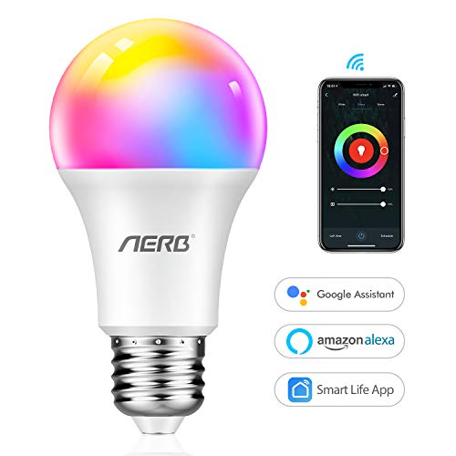 【NEW】Aerb Lampadina Smart Wifi E27,Lampadina Wi-Fi Intelligente LED 9W 1000LM Multicolore Dimmerabile 2700k-6500k+RGB+CCT Equivalente 60W Bulbo Compatibile con Alexa/Google Assistant e IFTTT 1 Pack