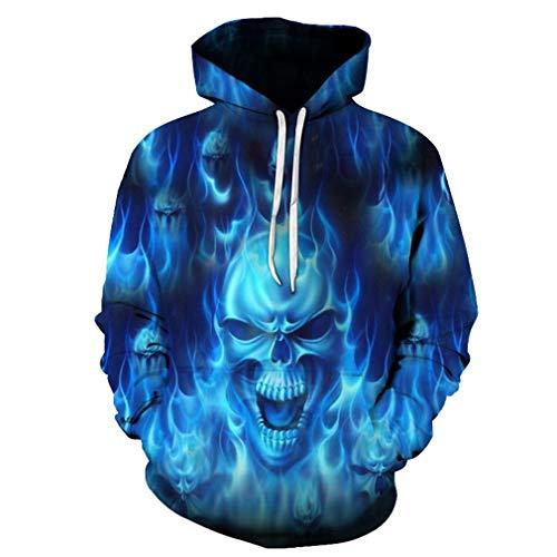 RIOJVK Blue Flame Skull Hoodies 3D Sweatshirts Herren Damen Herbst Winter Coat Jacken LMWY-378 4XL