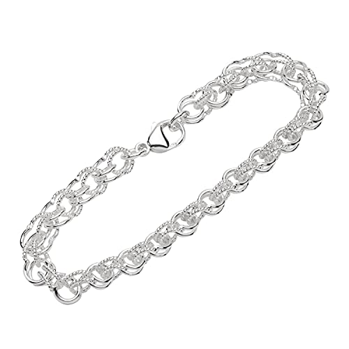 NKlaus Armband 925 Sterling Silber 20cm Garibaldi Kette Damen designer Armbandkette 12873