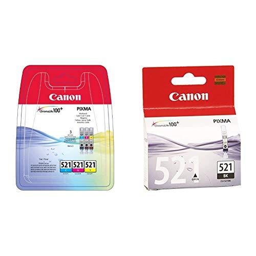Canon CLI-521 3 Cartuchos Multipack de tinta original Cian/Magenta/Amarillo para Impresora de Inyeccion + CLI-521 Cartucho de tinta original Negro para Impresora de Inyeccion