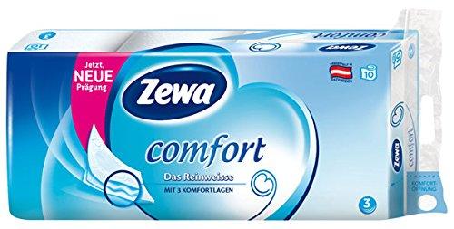 Zewa Comfort Das Reinweisse, Toilettenpapier 3-lagig, weiß, 10 x 150 Blatt - 10Rollen - 6x