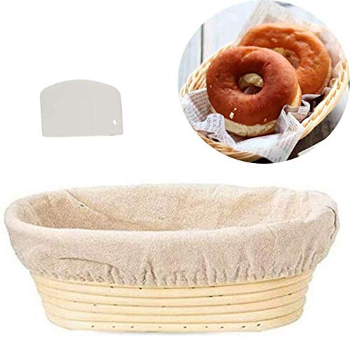 Bread Banneton Basket 10 Inch for Dough Rising Bread Proofing Basket Baking Dough Bowl,Oval Bread Basket + Scraper