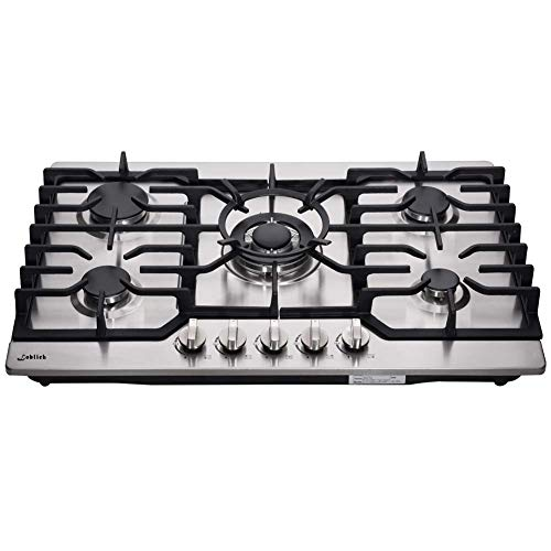 30 Inch Gas Cooktop, Sealed 5 Burners Gas Cooktop,Stainless Steel Gas Cooktop, LG/NG Convertible,Heavy-Duty Grates Gas Stovetop,Gas Burner Thermocouple Protection