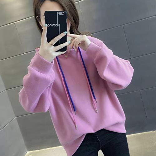 Moda Sudaderas Jersey Sweater Sudaderas De Mujer Casual All Match Sudaderas con Capucha De Manga Larga Sudadera Suelta De Gran Tamaño Sólido Mujer XL 04
