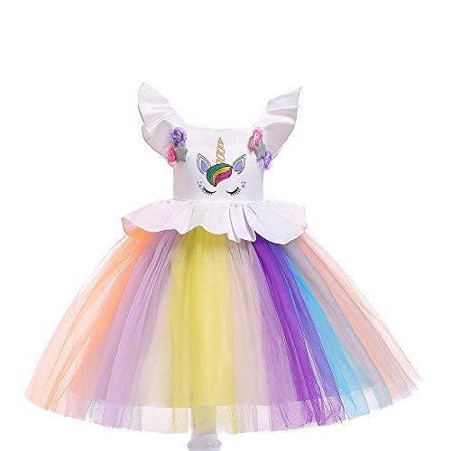 Romon Girls Vestido de Malla Vestido de Princesa Mangas voladoras Lentejuelas Flores Vestido de Cosplay Disfraces de Fiesta (3~8 años)