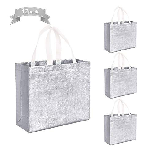 Set of 12 Glossy Reusable Grocery Bags Shopping Tote Bags with Handle, Non-woven Gift Bag Present Bag Goodies Bag Silver Tote Bags for Women Birthday Party Wedding Christmas (Silver)