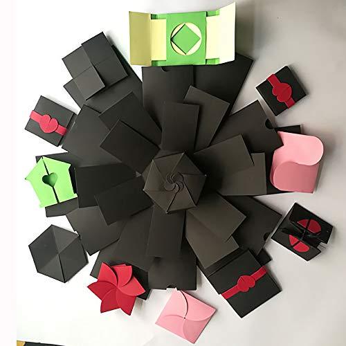 Explosie doos, Powstro Explosie Geschenkdoos Zeshoek 5 Laag 12 Zijdelings DIY Foto Album Handgemaakte Verrassing Gift voor Verjaardag Bruiloft Valentijnsdag Verjaardag Kerstmis (Zwart)