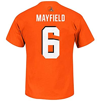 NFL Youth Team Color Primary Logo Player Name and Number Jersey T-Shirt (Medium 10/12, Baker Mayfield Cleveland Browns Orange)