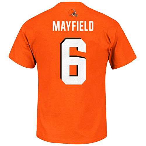 NFL Youth Team Color Primary Logo Player Name and Number Jersey T-Shirt (X-Large 18/20, Baker Mayfield Cleveland Browns Orange)