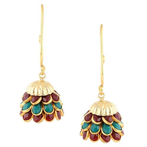 Gold Tone Indian Bollywood Ethnic Designer Multi color Pachi Jhumka Jhumki Earrings Jewellery for Girls/Women
