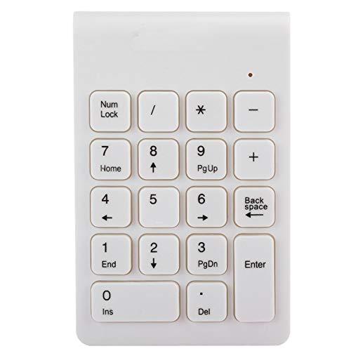 Extensión de Teclado de Teclado inalámbrico de 18 Teclas, USB2.0 2.4G2.483G Teclado numérico de Teclado inalámbrico, Compatible con Windows 10, iOS, Android, Linux, etc. Blanco