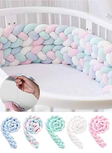 Bebé anudado 4 almohadillas protectoras de cuna trenzadas para niños niñas funda de riel para ropa de cama hecha a mano, parachoques de cuna de cama, protección de cabecera, cojín almohada nud