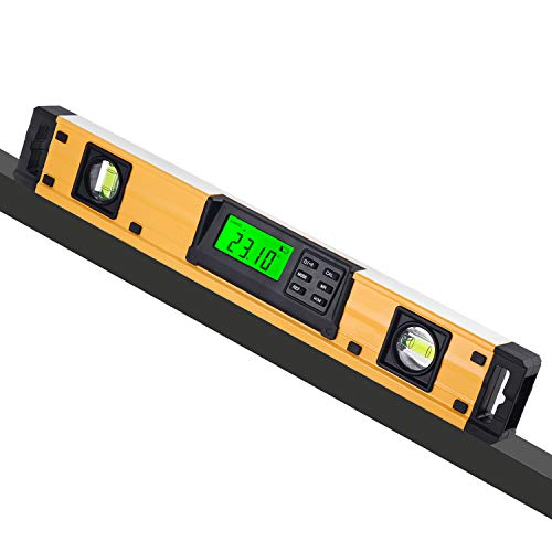 URPRO 18-inch Digital Torpedo Level and Protractor Neodymium Magnets Bright LCD Display IP54 Dust/Water Resistant smart level with Carrying Bag