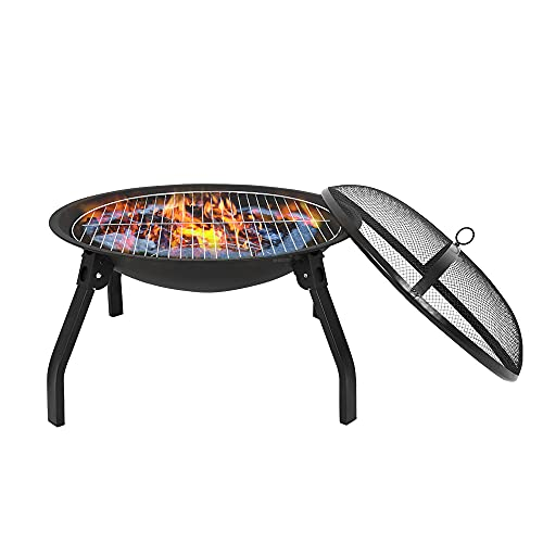 Outdoor Fire Pits, Round Steel Fire Bowl, Fire Pits for Garden with BBQ, Garden Heater Outdoor BBQ Camping, Portable Fire Pit with Poker, Grate, Grill and Cover