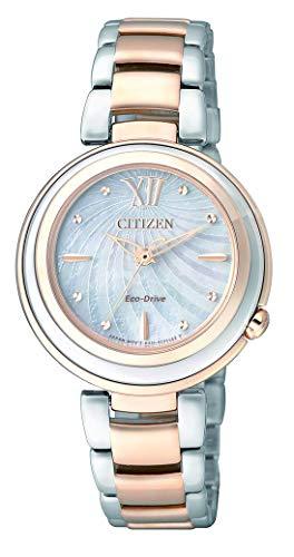 Citizen Damen Analog Quarz Uhr mit Edelstahl Armband EM0335-51D