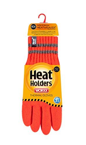 HEAT HOLDERS Mens Worxx Thermal Gloves, Bright Orange, Medium/Large