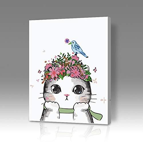 Diy Pintura Al Óleo Digital Pintura Para Colorear Fondo Del Hogar Pensando Gato Dibujos Animados Anime Sala De Estar Decoración Pintura Hl049 2