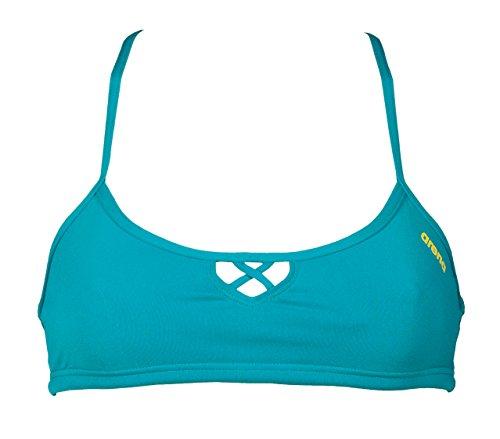 arena Damen Profi Trainings Bikinioberteil Bandeau Be (Schnelltrocknend, UV-Schutz UPF 50+, Chlorresistent), Persian Green-Yellow Star (643), M