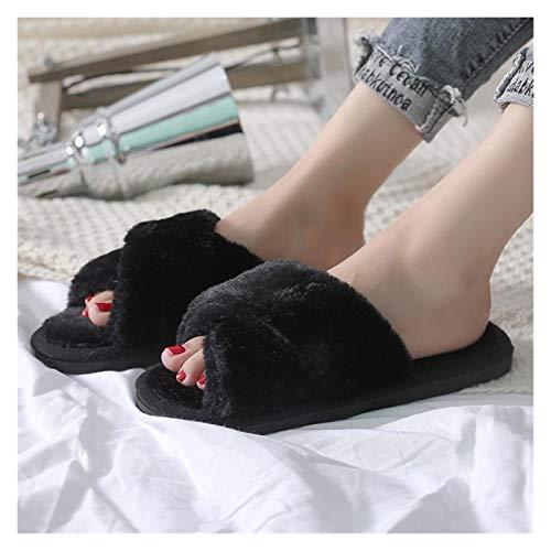 Zapatos caseros zapatillas de interior Diapositivas de piel for mujer Zapatillas de...